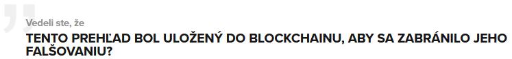 Potvrdenie o uloženie prehľadu do blockchainu