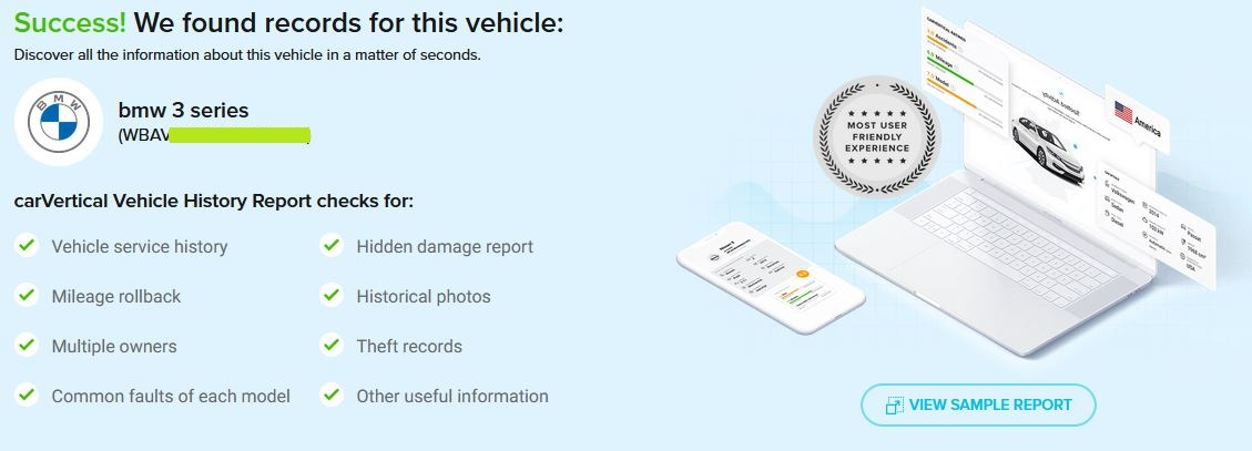 Checked VIN of the vehicle for free
