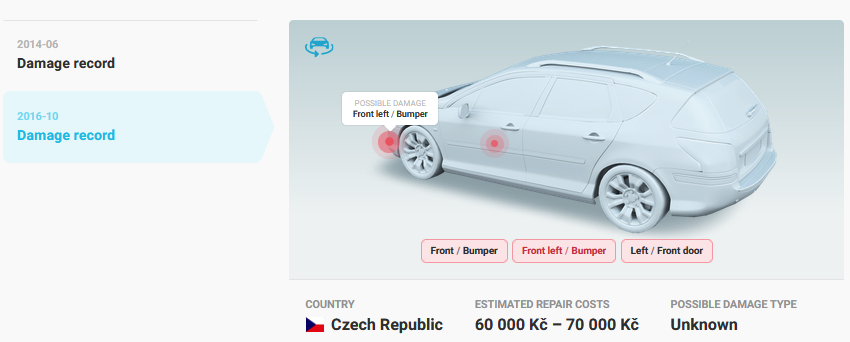 Interactive model showing vehicle damage