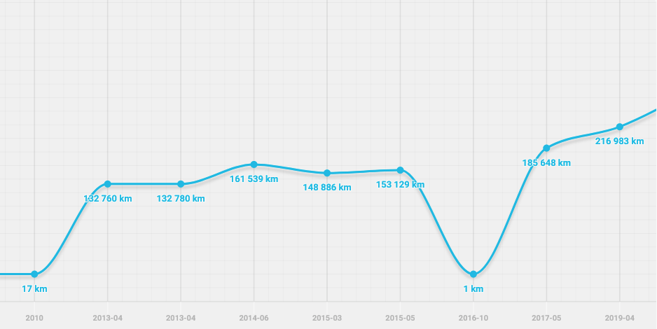 Suspiction of odometer rollback according the graph.